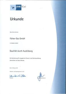 Faerbergas Ausbildung IHK-Zertifikat 2018