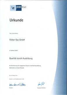Faerbergas Ausbildung IHK-Zertifikat 2014