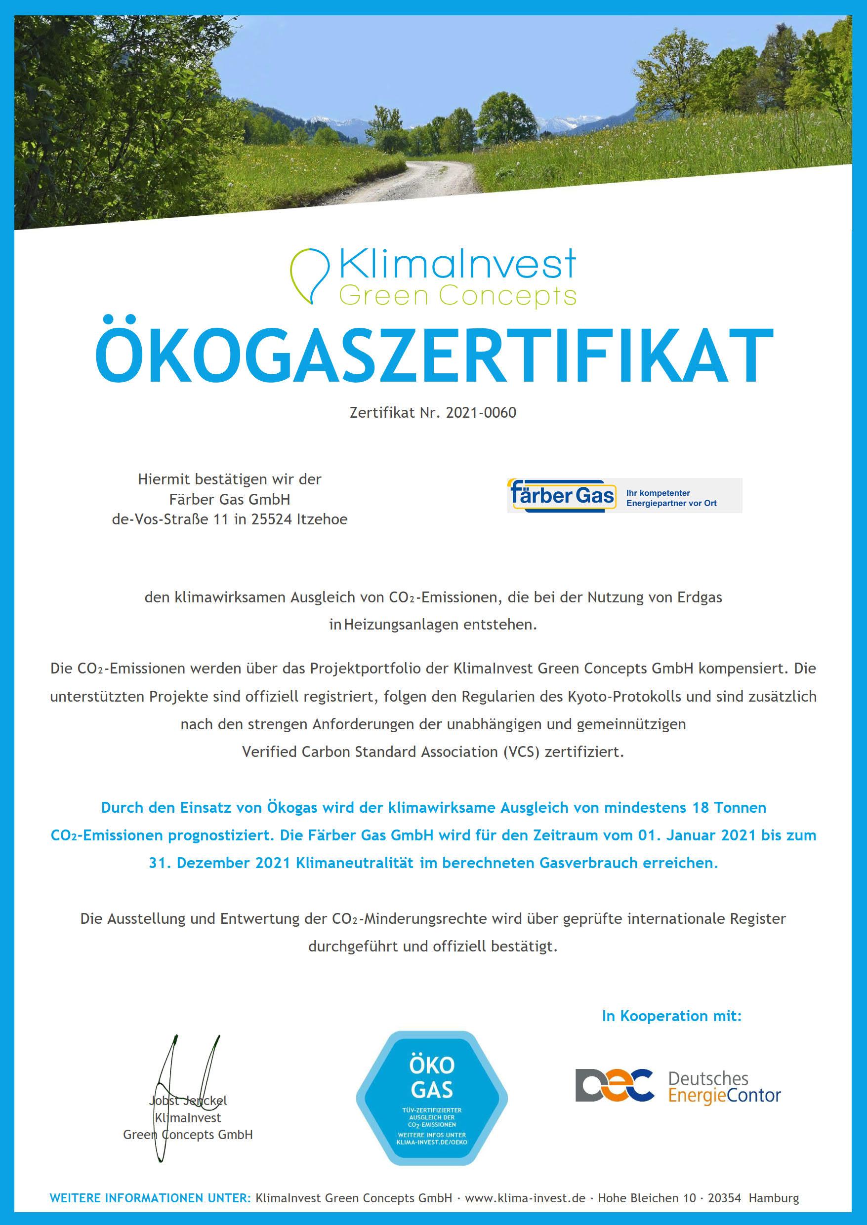 Färber Gas Erdgas klimaneutral Ökogaszertifikat