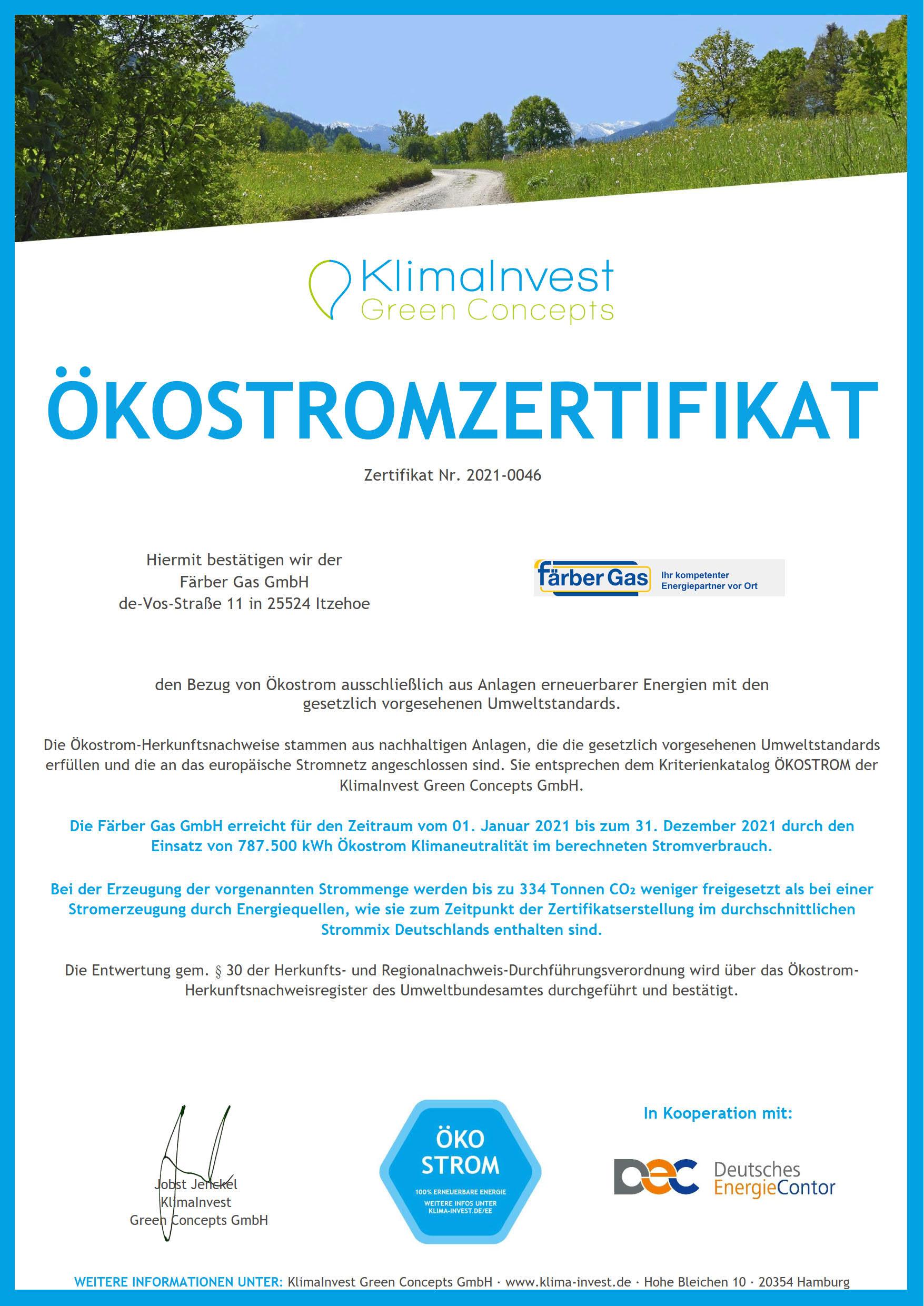Färber Gas Strom klimaneutral Ökostromzertifikat